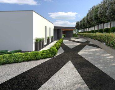 L'entrata carrabile del giardino moderno