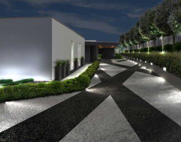 entrata di notte giardino moderno