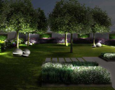 Giardino della villa con salotto di notte