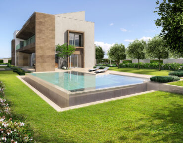 giardino della grande villa con piscina