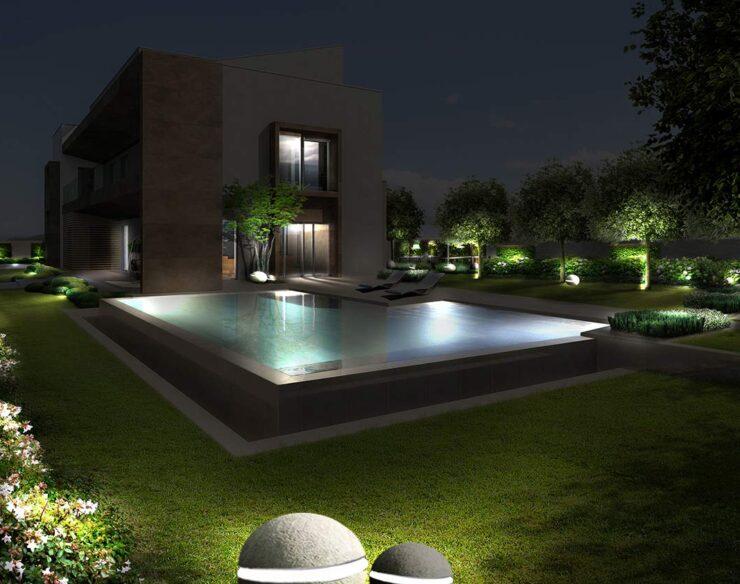 giardino villa con piscina notte