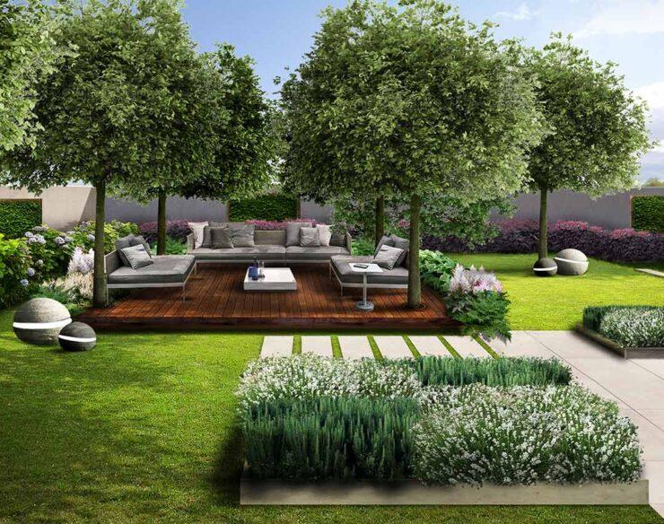 Giardino della villa con salotto outdoor