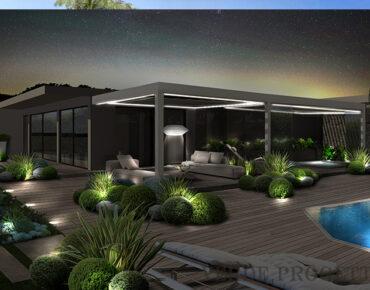 giardino di notte con piscina