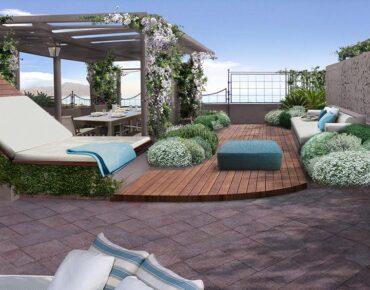 terrazzo a genova con living
