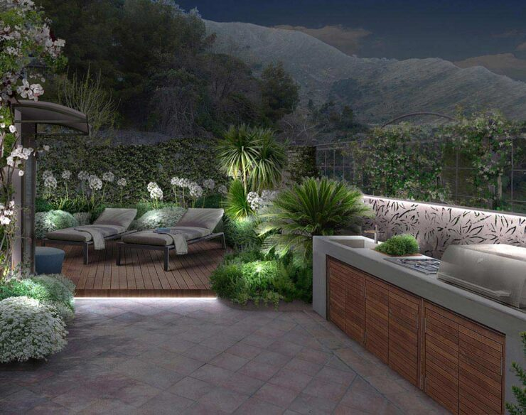 terrazzo a Genova di notte con cucina all'aperto