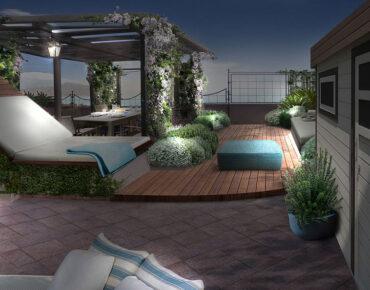 Progetto terrazzo a Genova con living di notte