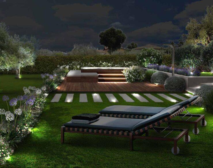 giardino campagna con idromassaggio di notte