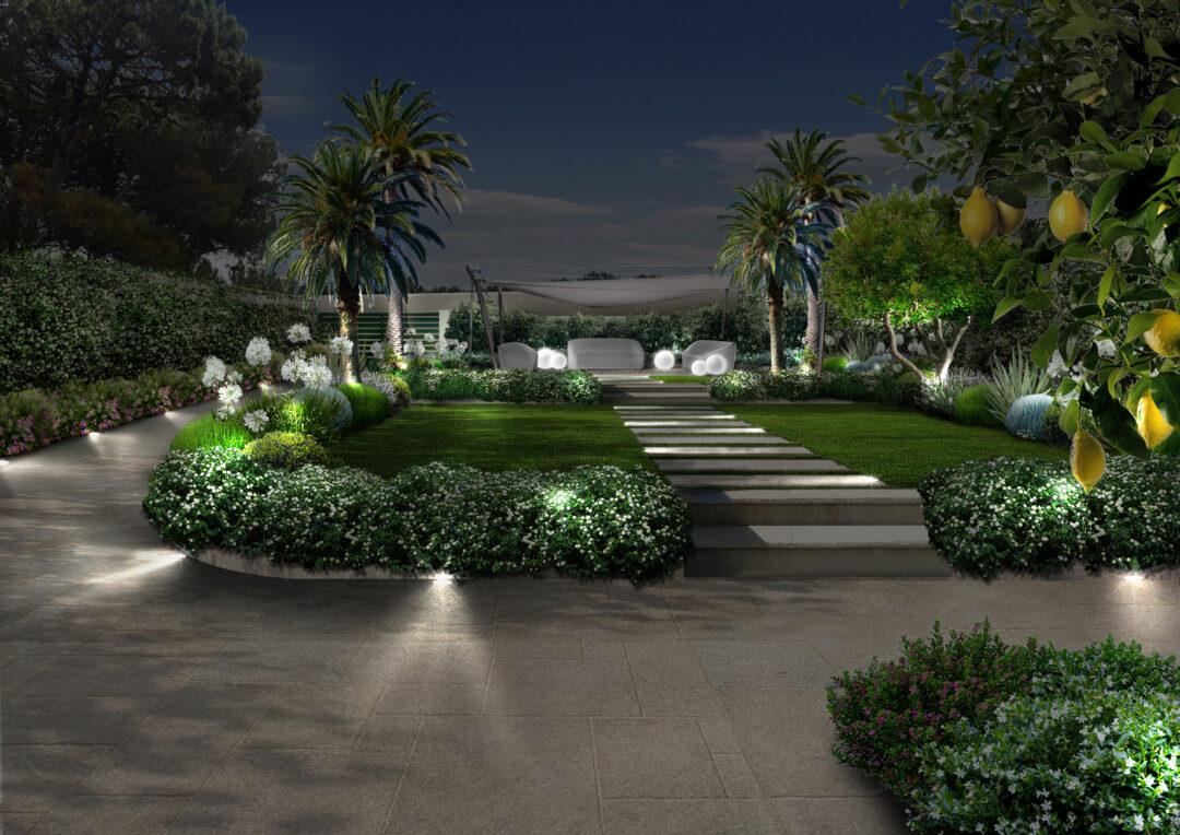 Giardino a Taranto di notte