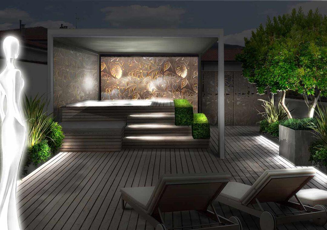 terrazzo idromassaggio illuminato