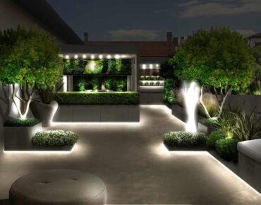 terrazzo raffinato di notte