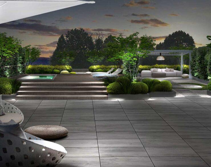 Il terrazzo in stile zen illuminato