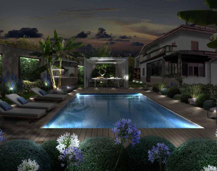 Il giardino con gazebo illuminato