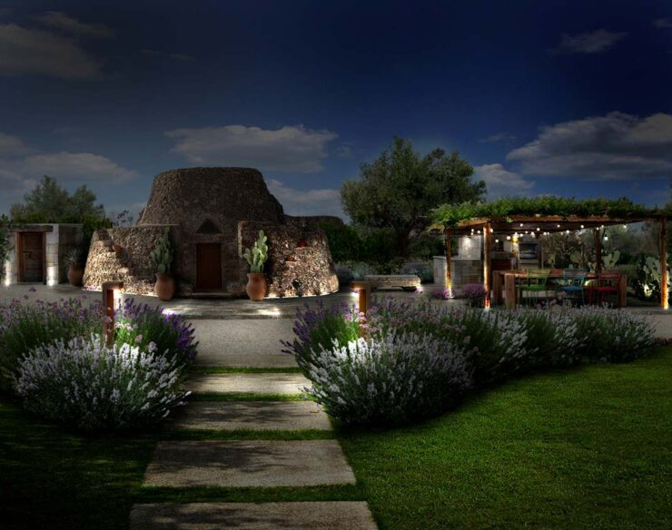 giardino rustico mediterraneo illuminazione notte
