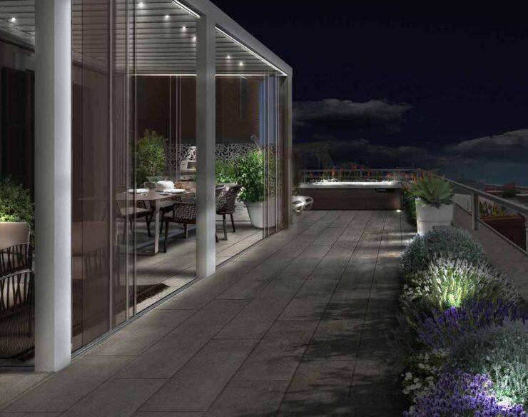 terrazzo a roma di notte