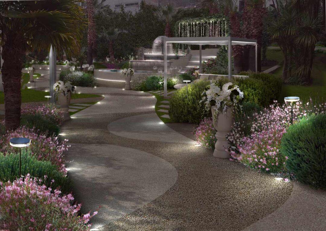 Il giardino per eventi a Catania di notte