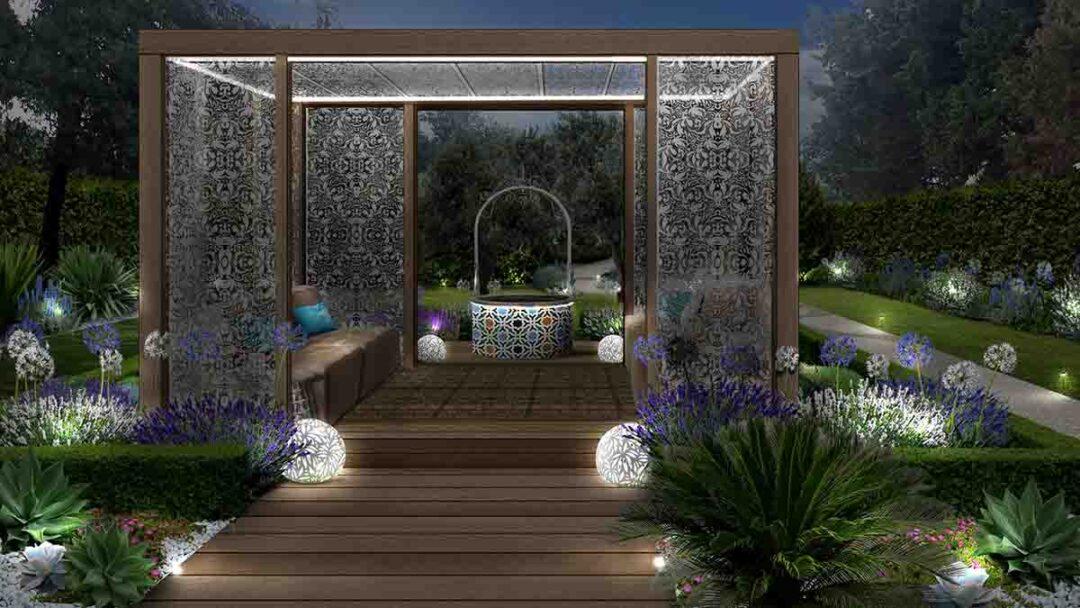 Giardino stile arabo con gazebo illuminato