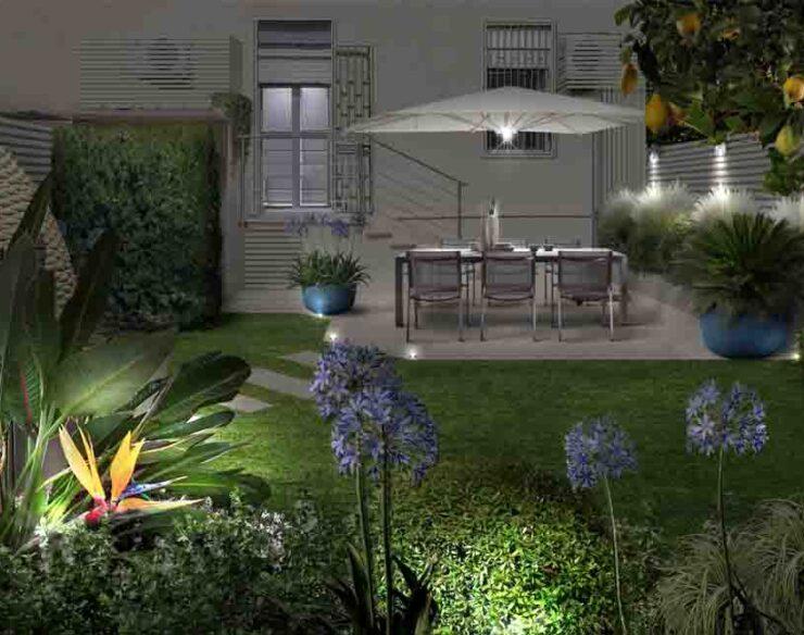 Progetto giardino in Sicilia illuminazione
