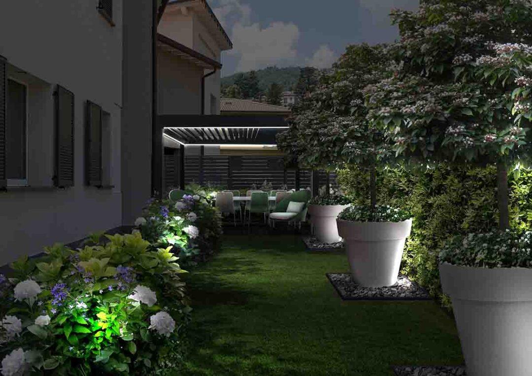 Il giardino a Como-notte