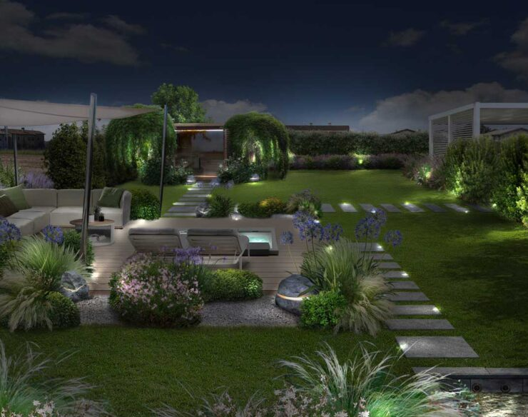 illuminazione giardino graminacee