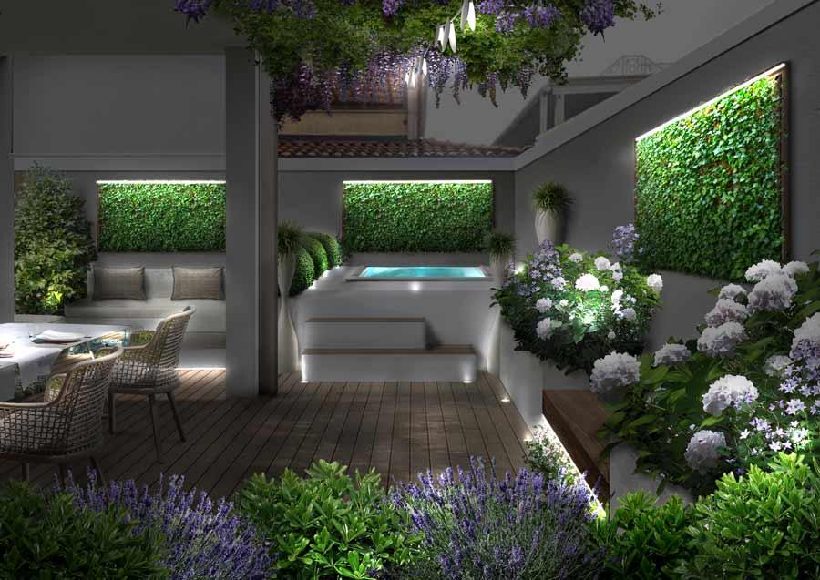 progettare il giardino con illuminazione