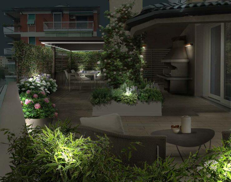 terrazzo illuminato a verona