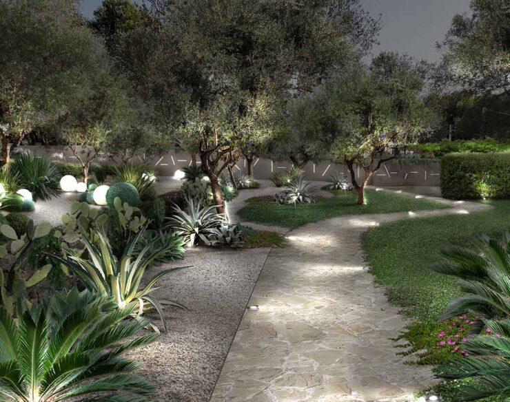giardino senza acqua con illuminazione