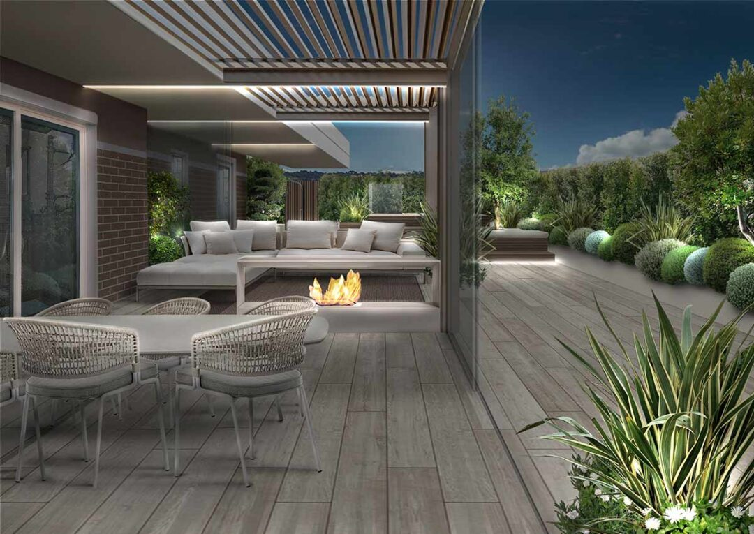 terrazzo a Sassari illuminato